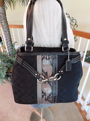 factory price incredible prices hot product COACH NANCY SIGNATURE Stripe Python Black/Gray Shoulder ...