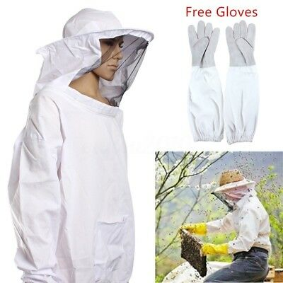 Veil Bee Keeping Veil Suit Hat Pull Over Smock Jacket Protective Sleeve Gloves