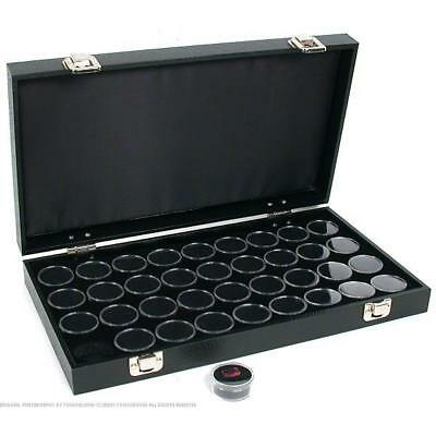 36 Gem Jars Black Display Tray Gemstone Travel Case