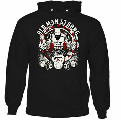 Old Man Strong Mens Funny Gym Hoodie Training Top Ageing Bodybuilder MMA Weight