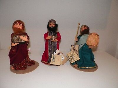"""1998 Annalee Three Wisemen Figures With Tags Attached Nos 10 1/2"""" Tall"""