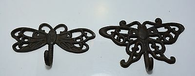 Dragonfly & Butterfly Cast metal wall coat hooks / plant hangers free US shippin