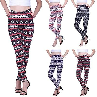 Womens Plus Size Ultra Soft Leggings Winter Holiday Design Elastic Stretch Pants