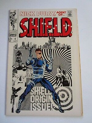 68 Nick Fury Agent Of Shield # 4 In Very Fine +  Condition, Shield Origin Story