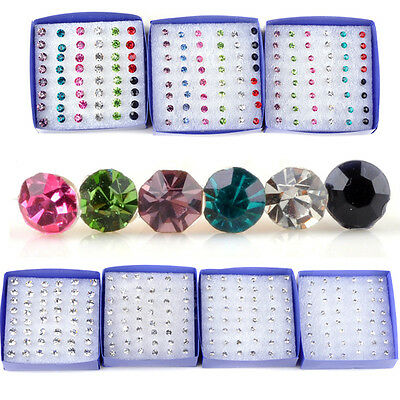 Wholesale 20 Pairs Rhinestone Crystal Plastic Round Ear Stud Earring Pin Jewelry