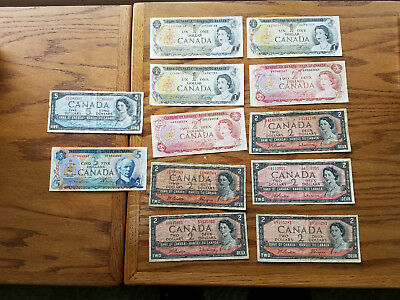 Lot Of 12 Bank of Canada Notes - 7708