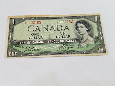 1954 $1 Devils Face One Dollar Bank of Canada Note