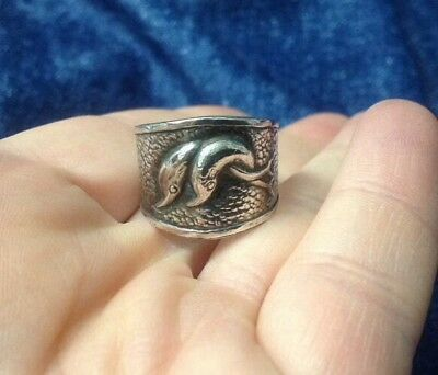 Adorable Sterling Silver Double Dolphins Interlocked Tails 925 Adjustable Ring
