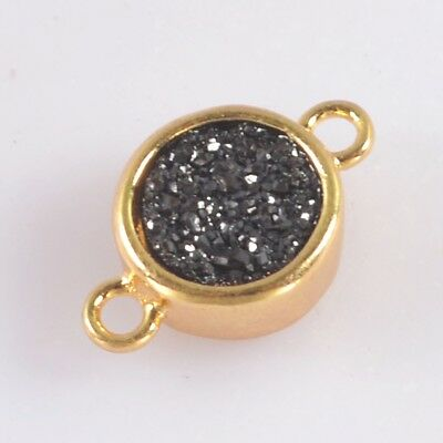 9mm Round Natural Agate Titanium Druzy Bezel Connector Gold Plated B049542