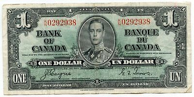 Bank of Canada 1937 One Dollar - King George VI - Banque Note Currency - AN468
