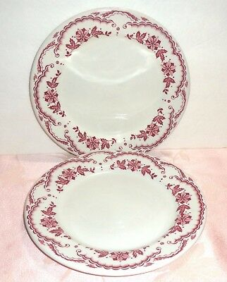 "Sterling China Restaurant Ware 2 Plates 8"" Salad Lunch Red Flowers Clouds Scroll"