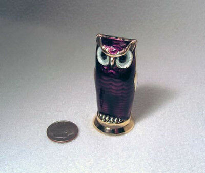 David Andersen Sterling & Guilloche Purple Enamel Owl Salt Or Pepper Shaker*wow!