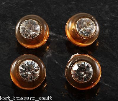 Antique Vintage Sewing Buttons Lot of 4 Orange Plastic Clear Rhinestone