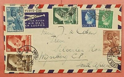 1947 Netherlands Airmail Cover To South Africa