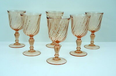 Rosaline Pink Swirl Arcoroc Set Of 6 Water Wine Glasses Goblets France Bulbous