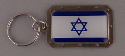 Israel National Flag Metal Key Ring DOMED IMAGE Star of David