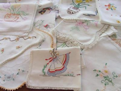 Bulk Lot of Vintage Hand Embroidered Items Suitable Only for Craft Use