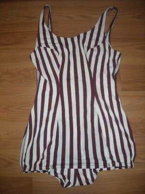 Vtg Womens 34 Striped Brown White Dolphin Swim Bathing Suit Swimming