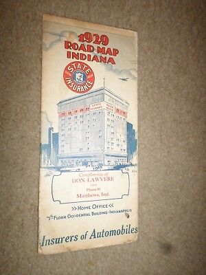 """1929 State Auto Insurance """"Highway Road Map Indiana"""" Occidental Building"""