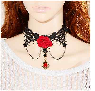 Women's Red Lace Necklace Beads Choker Victorian Steampunk Style Gothic Collar