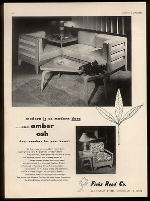 1949 Ficks Reed modern furniture Amber Ash corner table sofa photo vintage ad