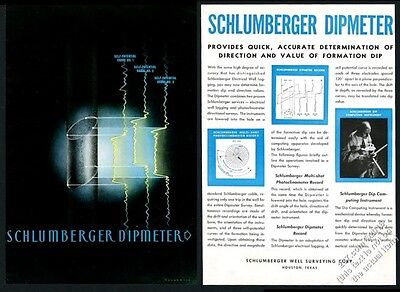1945 Schlumberger oil well surveying dipmeter modern art vintage print ad