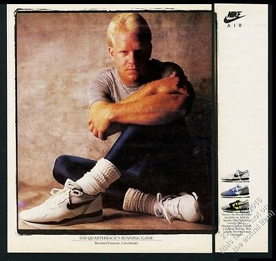 1987 Boomer Esiason photo Nike Air Windrunner shoes vintage print ad
