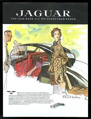 1957 Jaguar Mark 8 black car Rene Bouche elegant woman art vintage print ad