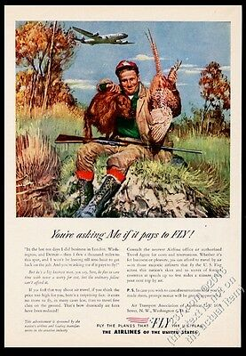 1946 Irish Setter pheasant hunter art US airlines vintage print ad