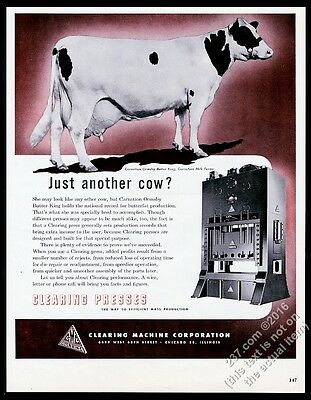 1950 Carnation Ormsby Butter King cow photo Clearing Press vintage print ad