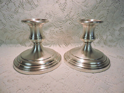 S. Kirk & Son Sterling Silver Candlesticks - Short Simple Design - #8 - Weighted