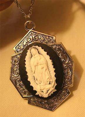 Gorgeous Art Deco-Inspired Black & White Our Lady of Guadalupe Cameo Necklace
