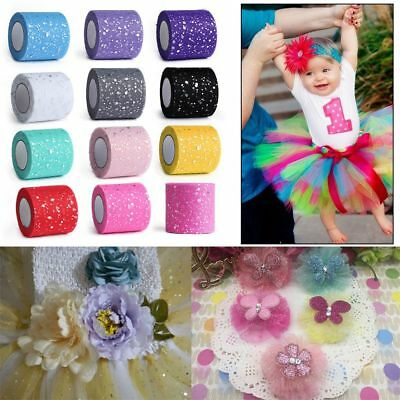25Y*6.5cm Sequin Tulle Roll Spool Tutu Wedding Decor Skirt Hair Ornament Glitter