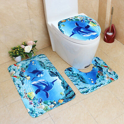 3Pcs Set Bathroom Non Slip Blue Sea Ocean Pedestal Rug Lid Toilet Cover
