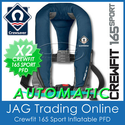 2 x AUTOMATIC NAVY BLUE CREWSAVER CREWFIT 165N PFD- AUTO INFLATABLE LIFE JACKETS