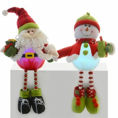 Festive 48cm Sitting Santa / Snowman Light Up Tummy Mantle Piece Xmas Decoration