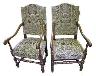 PAIR OF EARLY 20th CENTURY FRENCH OAK - AUBUSSON TAPESTRY ARMCHAIRS (COB0005)