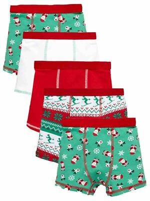 Mini V by Very Toddler Boys Pack of Five Fairisle & Santa Trunks