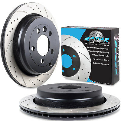 REAR DRILLED GROOVED 325mm BRAKE DISCS FOR LAND ROVER DISCOVERY 3 4 2.7 TD