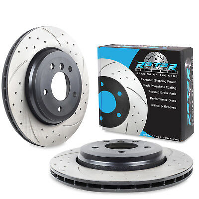 REAR DRILLED GROOVED 320mm BRAKE DISCS FOR BMW E46 330i 330Ci 330d 325i 00+