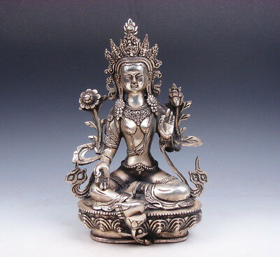 Vintage Tibetan Silver Plated Copper Crafted LARGE *GREEN TARA* Buddha Statue