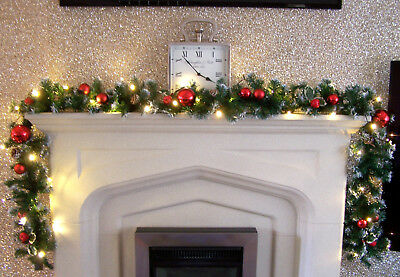 Luxury 2.7m Red Bauble Frosted Christmas Garland Swag with Apples & acorns 9ft
