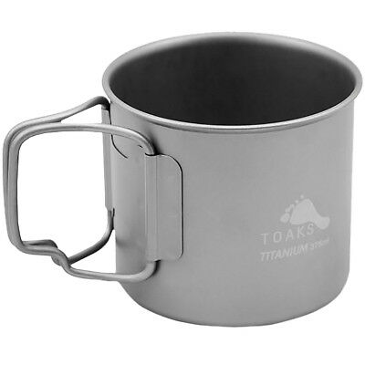 TOAKS Titanium 375ml Cup with Folding Handles - CUP-375 - Outdoor Camping Mug