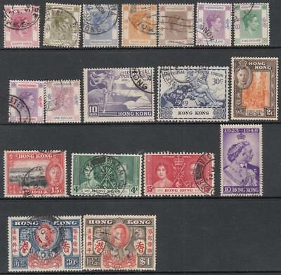 Hong Kong George VI hi val selection 18 diff used stamps cv $66.95