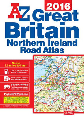 A-Z Great Britain Road Atlas 2016 A3 P/B, Geographers A-Z, Good Condition Book,