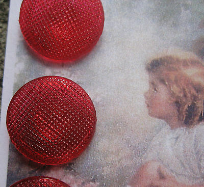 "Set of 3~Vintage Large 7/8 "" Ruby Red Waffle Glass  Buttons ~ 1920 ~ old stock"