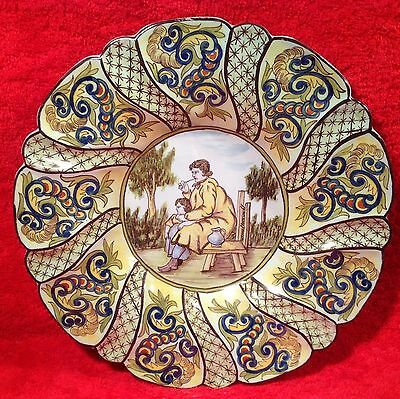 Antique French Hand Painted Desvres n. Quimper Wall Platter, ff285 Gift Quality!
