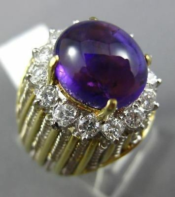 Antique Large 8.34Ct Diamond & Aaa Amethyst 18K Two Tone Gold 3D Oval Ring #2624