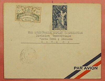 1940's Guadeloupe Isl Airmail Cover To Studebaker Car Co Usa