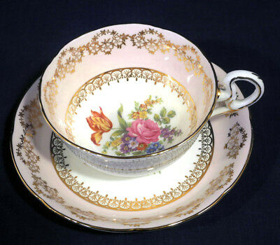 Royal Grafton China Pink Gold Decor Floral Spray Rose Tulip Cup and + Saucer Set
